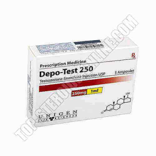 Depot-Test 250 (Testosteron Enanthat) Unigen Life Sciences Packung von 5 Ampullen von 1 ml